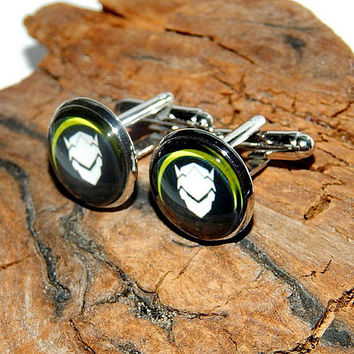 Genji Overwatch logo icon cufflinks, Overwatch simbol, Genji patch, Genji emblem, gamer cufflink video game Overwatch Genji cufflink jewelry