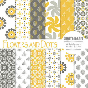"Floral digital paper ""Flowers and Dots"" flower digital clip art papers in yellow, gray, patterns, download, floral background"