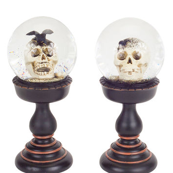 Skull Glitter Globes on Pedestal (Set of 2)