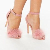 Helena Pink Feather Barely There Heeled Sandals