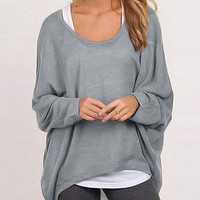 Plain Long-Sleeve Pullover Loose Shirt