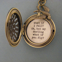 What if I fall Oh but my darling what if you fly brass filigree locket with sparrow bird motivation inspiration courage leaving home