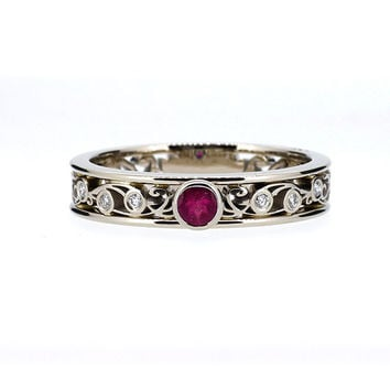 Ruby filigree engagement ring with diamonds, filigree ring, unique, bezel, ruby engagement, pink ring, anniversary, unique, diamond ring