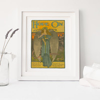 PRINTABLE art, Hope On!, vintage poster reproduction, home decor, art print, 1899 sheet music cover