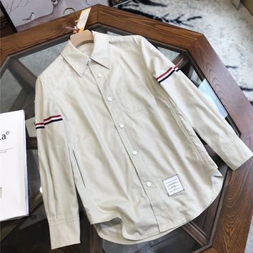 """""""Thom Browne""""Men All-match Fashion Buttons Stripe Commercial Lapel Solid Color Leisure Long Sleeve Shirt Tops"""