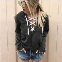 women hoodies sweatshirts ladies long sleeve pullovers v-neck autumn winter fall clothing sweat shirts hoodies
