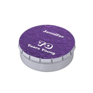 Purple Dolls Candy Tin Party Favor 70 Years Young