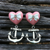 Pink and White Heart with Hanging Silver Anchor Earrings