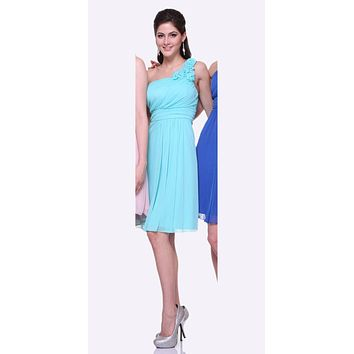 Mint One Shoulder Chiffon Knee Length Bridesmaid Dress