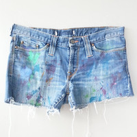 Cutoff Denim Vintage Jeans Shorts~ Ripped Jeans~ Distressed Frayed Grunge Hipster Short Shorts~ Hello Unicorn~ Bohemian Style~ Shabby Chic