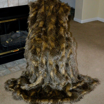 "Faux Fur Throw, Brown and Camel Ostrich, Fake Fur, Blanket Throw 72"" x 60"", Ready to Ship!"