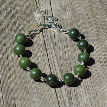 Canadian Jade Bracelet ~ Green Nephrite Jade ~ Polished Stones ~ British Columbia Jade ~ Good Luck Stones ~ Birthday Gift ~ Anniversary Gift