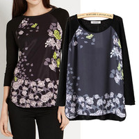 Black Floral Print Long Sleeve Pullovers Sweater