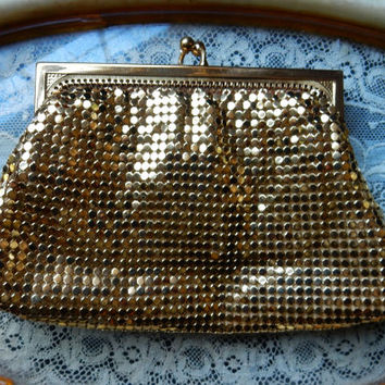 Gold Mesh Purse 1940s Whiting and Davis Change Purse Mesh Coin Purse  2960 Gold Evening Clutch Satin Lining Mid Century Glamour