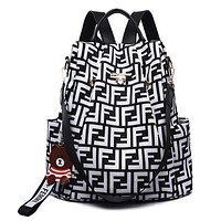 FENDI New Women Men Casual Shoulder Bookbag School Bag Backpack White