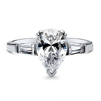 A Perfect 2CT Pear Cut Russian Lab Diamond Engagement Ring