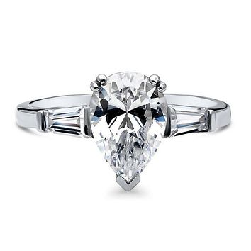 A Perfect 2CT Pear Cut Lab Diamond Engagement Ring