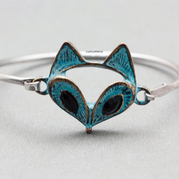 Retro Fox Bracelet (snap clasp) / Antique Style Unique Bangle / Fox head Adjustable Bangle /Fox head Wrap Bracelet /  Women's Jewelry