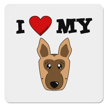 "I Heart My - Cute German Shepherd Dog 4x4"" Square Sticker by TooLoud"