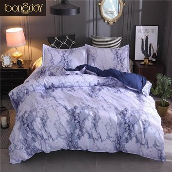 Bonenjoy Bedding Set King Size Duvet Cover Sets Blue Marble Printed Bed Linen Twin/Full Size Bedding Sheet  ropa de cama Bedding