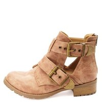 Double Belted Lug Sole Cut-Out Ankle Boots - Natural
