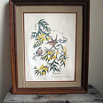 ANNE WORSHAM RICHARDSON Carolina Wrens in Yellow Jasmine Signed Framed Print