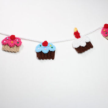 Cupcake Garland, Crochet Bunting, Birthday Party Decoration, Kitchen Wall Hanging, Nursery Wall Decor