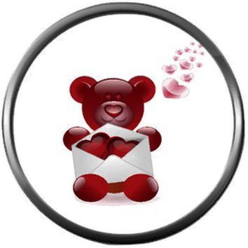Bear With Envelope Of Hearts Happy Valentines Day Celebrate Holiday 18MM - 20MM Snap Jewelry Charm New Item
