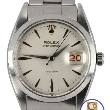 RARE Vintage 1960 Men's Rolex Oysterdate Precision 6694 Roulette 34mm Watch 6494