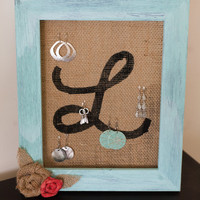 Earring Holder - Teal Frame and Burlap jewelry Organizer Jewelry holder, Jewelry Display, Earring Display