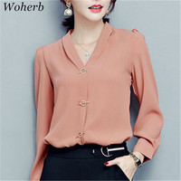New  Fashion V-Neck Chiffon Blouse Puff Sleeve Solid Button Blusas Casual Shirt Brief Elegant Women Tops Plus Size 72710 SM6