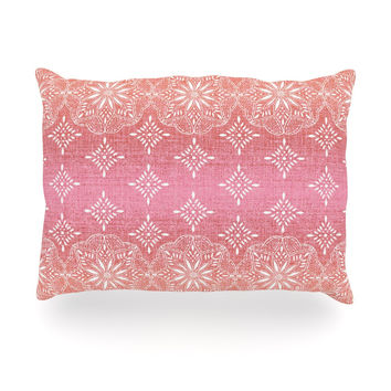 "Suzie Tremel ""Medallion Red Ombre"" Pink Oblong Pillow"