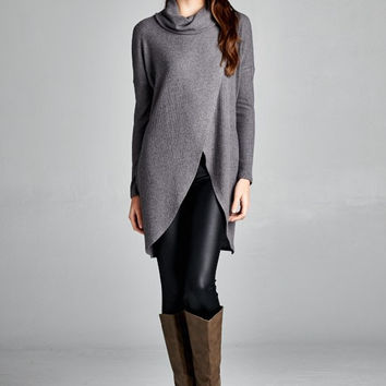 Cozy Chic  Long Sleeve Oversize Tunic Sweater - Charcoal
