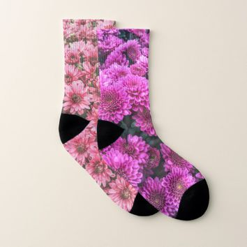 Cute, Unique Pink and Purple Floral Pair of Socks