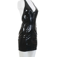 "Vintage Vinyl Dress 1990's Shiny Wet Look PVC Patent Leather Clothing Women's Size XS / Shiny Plunging Bodycon Goth Fetish Latex 25.5"" Waist"