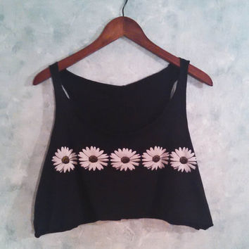 90s Vintage Crop Top, Daisy Print, Cut, Raw Edges, Flowy Crop Top, Cropped Tank Top, Daisies, Grunge