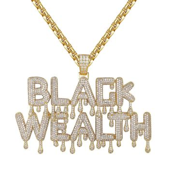 14k Gold Finish Drip Black Wealth Fully Iced Out Pendant Chain