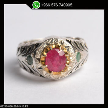 Red Ruby Ring Sterling Silver Persian Antique Design Genuine Gemstone Size 9.5 (Re-sizing is available for free)