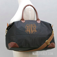 Monogrammed Khaki Weekend Travel Bag | Preppy Custom Tote|Marley Lilly