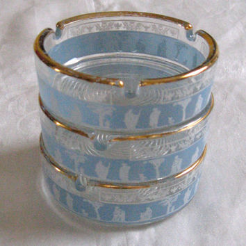 Vintage Three Frosted Blue GODESS ASHTRAYS by Wedgwood 1960s