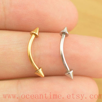 eyebrow piercing ring,arrow eyebrow ring,16 gauge eyebrow jewelry,rook ear piercing,oceantime