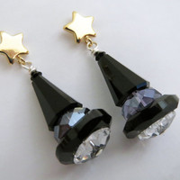 Halloween Witches Hat Earrings - Swarovski Crystal Post Earrings by Weirdly Cute Jewelry