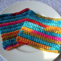2 Eco Friendly Dish Cloths - Kaleidoscope - Textured Crocheted Cheerful Reusable