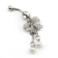 2015 New Fashion!14g Pearl Butterfly with 2-tassel Bowknot Navel Ring Belly Bar Button