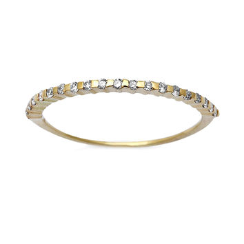 0.13ct Pavé Round Diamonds in 14K Gold Half Eternity Stackable Band Ring