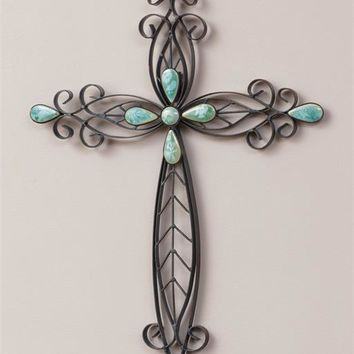 Cross With Colored Stone Accents