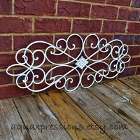Metal Wall Fixture /Shabby Chic Whiten/Distressed Patio Decor /Painted Bright /Outdoor Up Cycled Iron Art /Ornate Design
