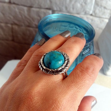 Turquoise and sterling silver ring, Turquoise silver ring, Large silver ring, Unique silver ring, Gift ring, statement ring, Israel jewelry