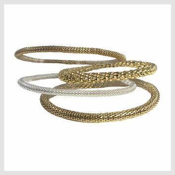 12K Gold and 925 Silver Plated Mesh Chain Stretch Bracelets Set of 4 (Two 4mm Two 6mm)