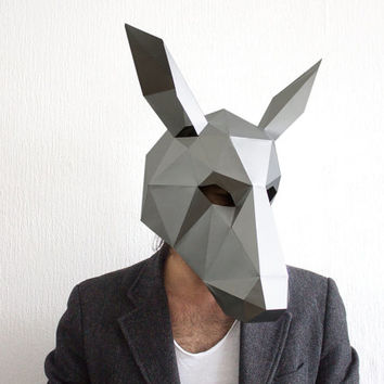 Make your own Donkey Mask, Animal Head,Instant Pdf download, DIY Halloween Paper Mask, Printable Templates, 3D Pattern, Polygon Masks